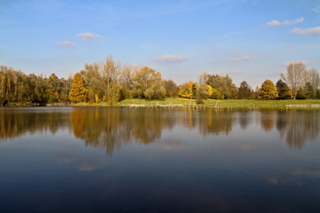 Foto op Canvas Bos rivier Autumn and lake