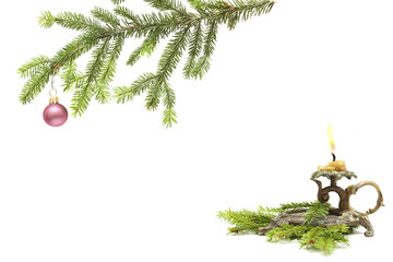 old candlestick and christmas fir isolated on white