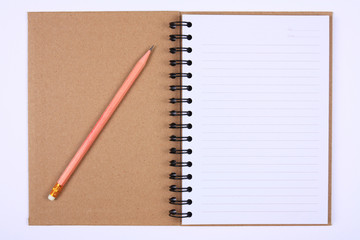 recycle notebook with pencil