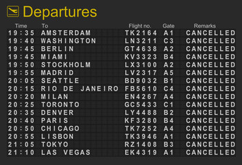 Departures board with all flights cancelled