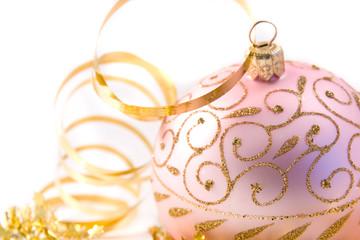 traditional pink christmas glass ball