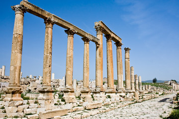 Columns at the Roman ruins in Jerash, Jordan