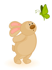 Vector cartoon little toy bunny with butterfly