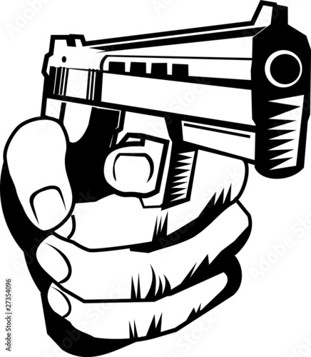 Line Art Xl 2010 : Quot hand with pistol stock image and royalty free vector