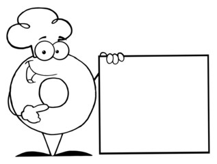 Outlined Donut Cartoon Character Presenting A Blank Sign