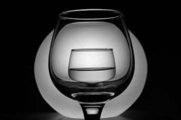 Two wineglass with water