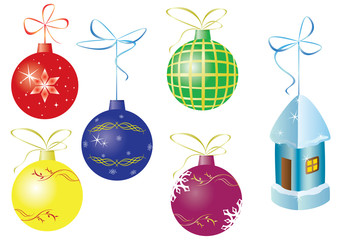vector set of 6 christmas decorations