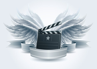 Winged clapboard banner.