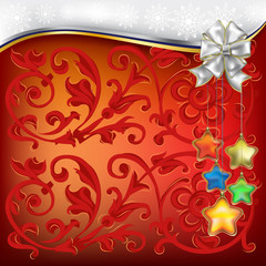 christmas decorations with white bow and stars
