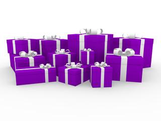 3d geschenk box lila weiß