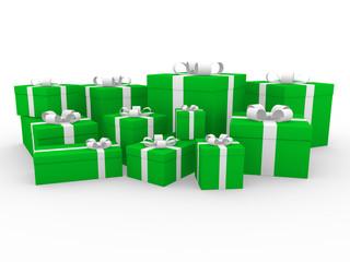 3d geschenk box grün weiß