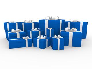 3d geschenk box blau weiß