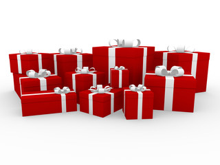 3d geschenk box rot weiß