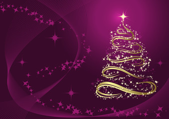 Abstract golden christmas tree against purple background