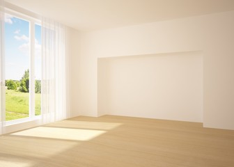 white empty room with nature view
