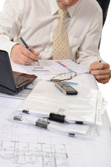 business person hands working with document
