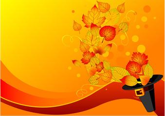 Autumn leaves and pilgrim's hat