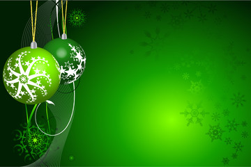 Christmas ball in green background vector