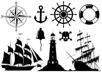 Set of Nautical Icons isolated on white