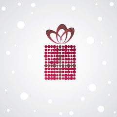 Christmas gift box. Vector illustration