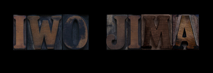 the words Iwo Jima in old letterpress wood type