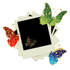 Pile of photos, insert your pictures into frames, butterfly