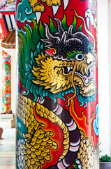 Dragon painting on column