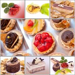 collage pâtisseries colorées et appétissantes