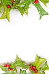 Christmas framework with holly berry isolated