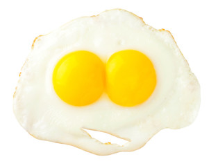 Aluminium Prints Egg Fried eggs that look like funny face isolated on white backgroun