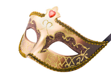 Golden carnival mask  on white with  path