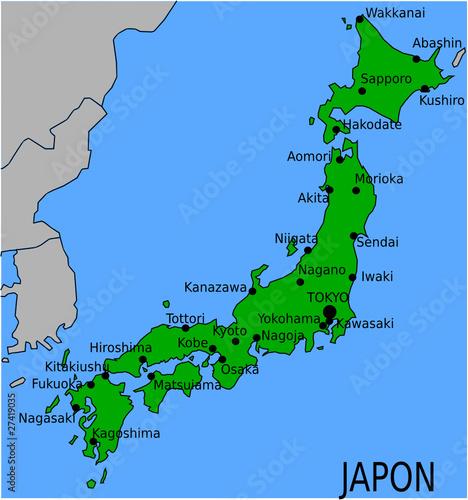 Carte des Villes Principales du Japon
