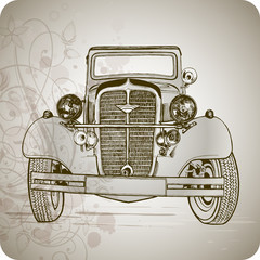 old classic car & floral pattern - vector illustration