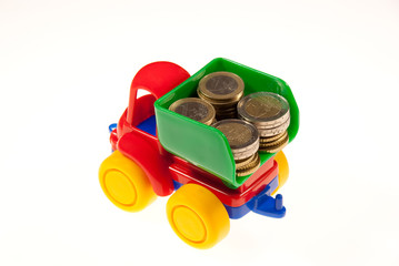 The truck with money for a white background