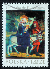 POLAND - CIRCA 1980: A greeting Christmas stamp