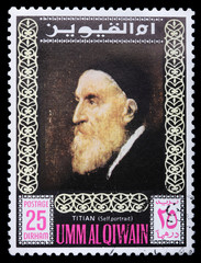 Postage stamp with Titian self-portrait