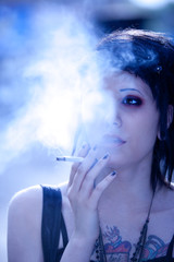 smoking girl in gothic style