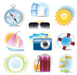 Detailed travel icons