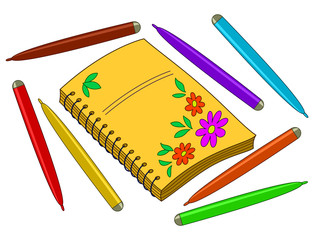 Notebook with flowers and felt-tip pens