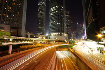 Road and traffic in downtown area of Hong Kong