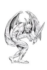Sketch of tattoo art, monster