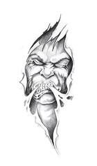 Fototapete - Sketch of tattoo art, monster