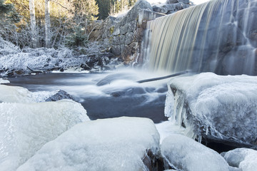 Winter landscape with ice and waterfall