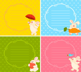 Vector set of cartoon little toy bunny