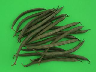 Closeup of organic  runner beans on a green background.