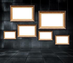 Art Gallery - Blank Picture Frames in Dark Tiled Room