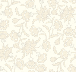 Seamless wallpaper pattern with floral elements.