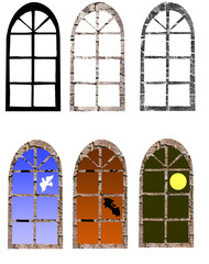 .illustration window in miscellaneous time day.