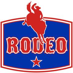 american rodeo cowboy bucking bronco shield