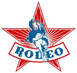 american rodeo cowboy bucking bronco star